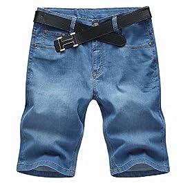 SUSIELADY Men's Denim Shorts Pants 5 Pocket Casual Straight Fit Stretch Moto Biker Jeans Short for Men 2018 Summer