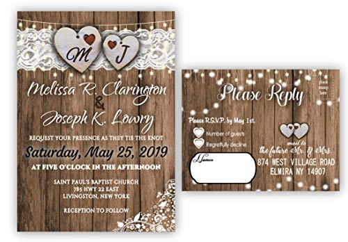 Rustic Wedding Invitations with Envelopes and RSVP Set of 100