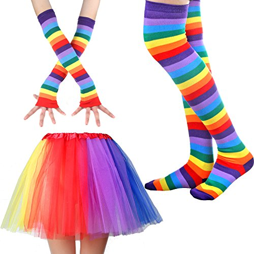 Women's Rainbow Long Gloves Socks and 3 Layered Tulle Tutu Skirt Party Accessory Set (Color-A)