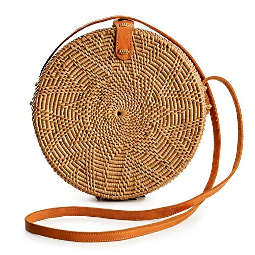 - Rattan Bags for Women - Handmade Wicker Woven Purse Handbag Circle Boho Bag Bali