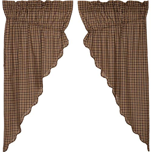(VHC Brands Rustic & Lodge Window Curtains - Prescott Brown Scalloped Prairie Curtain Pair )