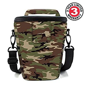 SLR/DSLR Camera Case Bag for Mirrorless , Micro 4/3 with Top Loading Accessibility , Adjustable Shoulder Sling , Padded Handle , Removeable Rain Cover & Weather Resistant Bottom by USA Gear from USA Gear