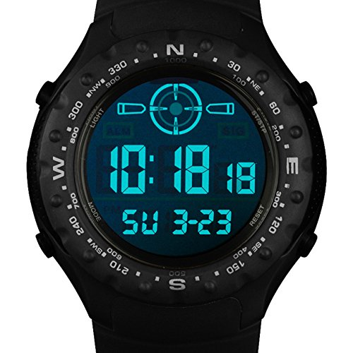 Price comparison product image INFANTRY Mens Big Face LED Digital Electronic Sport Wrist Watch with Black Rubber Band