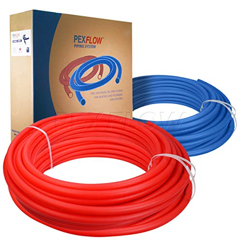 Pexflow PXKT-RB50012 PEX Potable Water Tubing Combo Non-Barrier Pipe for Residential or Commercial, 1/2 Inch x 500 Feet (1 Red + 1 Blue)
