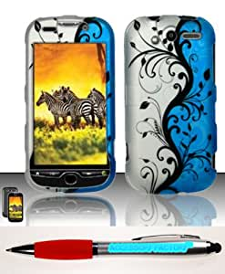 Accessory Factory(TM) Bundle (the item, 2in1 Stylus Point Pen) For HTC myTouch 2010 4G (T-Mobile) Rubberized Design Case Cover Protector - Blue Vines