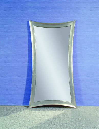 Bassett Mirror Hour-Glass Shaped Leaner Mirror in Silver - Mirror Shaped Glasses