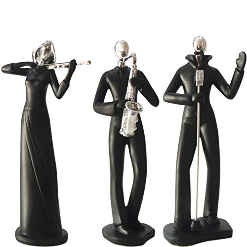 ZZ Lighting Fashion Resin Art Musician Man Set Figure Home Office Desk Wall Unique Decor Sculpture Holiday Birthday Gift (Violin Saxophone & Singer)