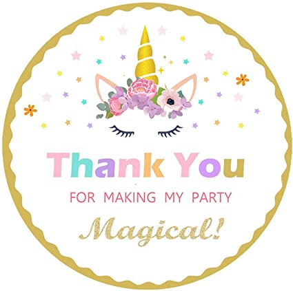 35 /'Thank you for coming to my party/' Unicorn stickers