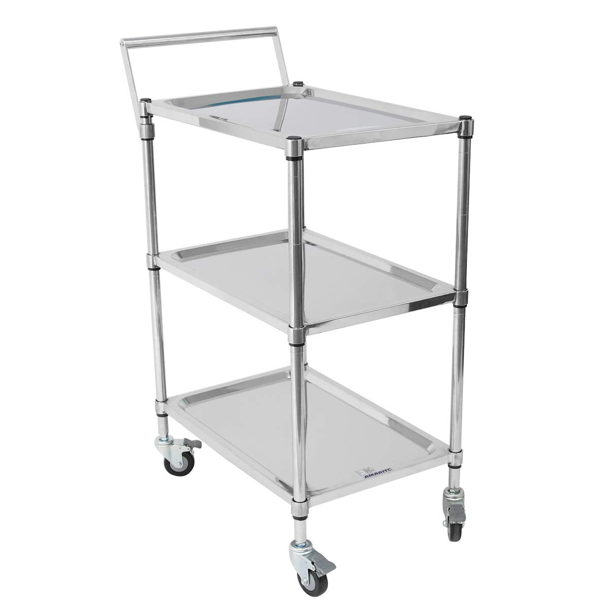 Amarite Stainless Platform Trolley Stainless Cart Grade 304 Stainless Steel 3 Shelves 396lbs Capacity