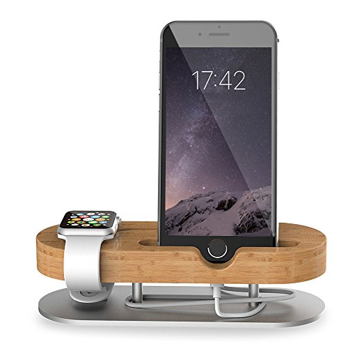 Apple Watch Stand, Universal 2 in 1 iPhone Stand/ iwatch Stands, MZvul Bamboo Wood Charging Dock Station Cradle Holder for iPhone 7 7 plus & Apple Watch iWatch Series 1 (38mm 42mm)