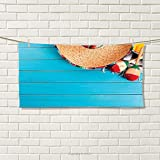 smallbeefly Mexican Sports Towel Native Latin Elements with Sombrero and Maracas on Wood Mexican Inspired Background Absorbent Towel Blue Cream Size: W 12'' x L 35.5''