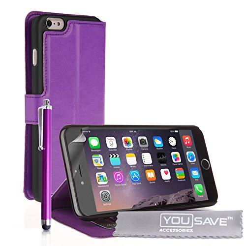 Yousave Accessories Schutzhülle aus PU-Leder Book Wallet Stand Cover Schutzhülle mit Eingabestift für iPhone 6Plus, Violett