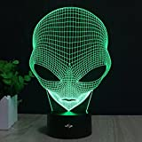 Alien 3D Lamp, Stunning Visual Three-Dimensional Light Effect [USB Powered,Touch Switch,7 Colors Change] Creative Design Night Light