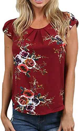 17549c138831 Peize Women Summer Casual Floral Boho T-Shirts, Ladies Printed Short Sleeve  O-