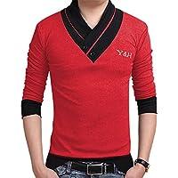 0b38d1ad4b59 Yong Horse Mens Fashion Elasticity Cotton 2 Color Stitch Slim Fit Muscle V  Neck Button Short