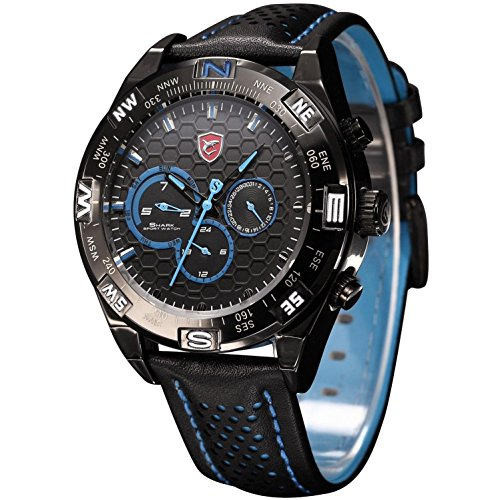 Shark Men s Shortfin Date Day Display Dual Time Zone Sport Leather Band Wrist Watch SH153