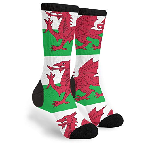 Packsjap Welsh Dragon Flag Men & Women Casual Cool Cute Crazy Funny Athletic Sport Colorful Fancy Novelty Graphic Crew Tube Socks