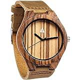 Treehut Mens Zebrawood Wood Watch with Genuine Brown Leather Strap Quartz Ana...