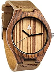 Treehut Mens Zebrawood Wood Watch with Genuine Brown Leather Strap Quartz Ana...