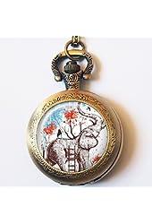 Vintage Girl with Elephant Pocket Watch Casestars Hand Craft Girl Painting Tree Quartz Pocket Watch