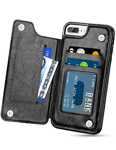 HianDier Wallet Case for iPhone 8 Plus 7 Plus Slim Protective Case with Credit Card Slot Holder Flip Folio PU Leather Magnetic Closure Cover Compatible with iPhone 7 Plus 8 Plus 5.5 inches, Black