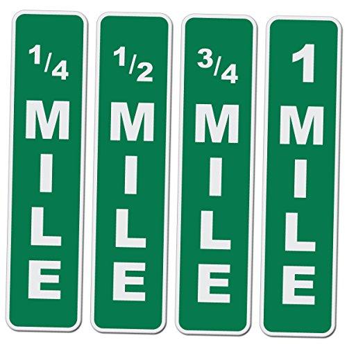 (Mile Marker 4 Pack - Quarter Mile thru 1 Mile Novelty Drag Racing Sign Set - 17 Inch Tall by 4 Inch Wide Aluminum Signs )