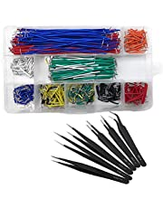 QISF 560Pcs Breadboard Jumper Wires Kit, Preformed Breadboard U-Shape Jumper Wires 14 Assorted Length + 6PCS Staniless Steel ESD Anti-Static Tweezers for Electronics, Repairing, Prototyping