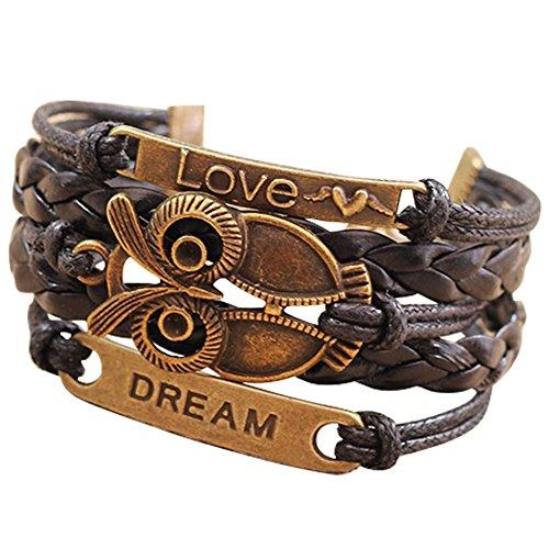 Nobio Retro Vintage PU Leather Bracelet Wristlet Bangle Wrist Band Hand Chain Charm (Items Dollar For Women)