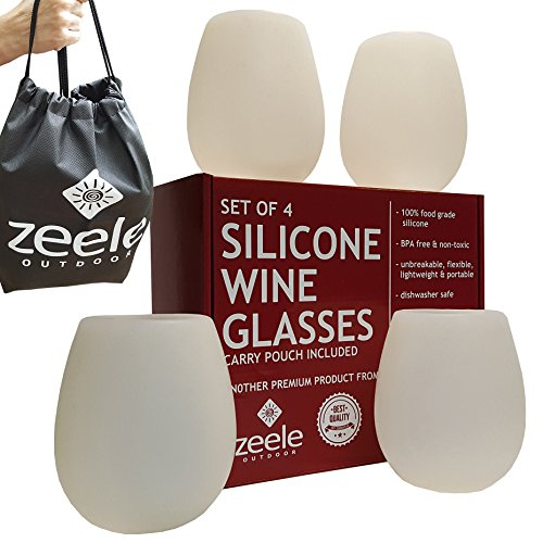Silicone Wine Glasses Set of 4 - Largest at 20 oz - Clear Silicone, Unbreakable, 100% Food Grade, BPA FREE - Convenient Carry Pouch Included - For BBQ, Parties, Camping, Pool, Beach, Concerts, Games by Zeele Outdoor