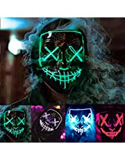Halloween Mask LED Light Up Masks with 3 Lighting Modes El Wire Scary Mask LED Glowing Mask for Halloween Cosplay Costume