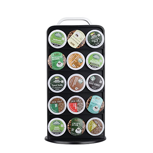 RECAPS Coffee Capsules Pods Holder Carousel 360 Degree Revolving Compatible with Keurig K Cup Stores 30 Pods Cast Iron Black Color by RECAPS