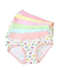 Girls' Boyshort Assorted Apples Underwear Kids Panties Cotton Briefs (Pack of 5)