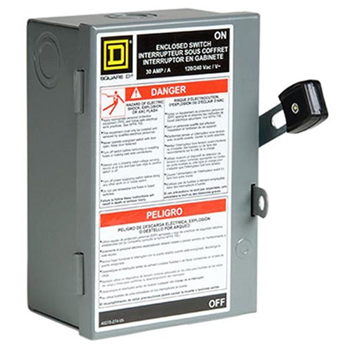 Square D by Schneider Electric L111N 30 Amp 120/240-Volt Single-Pole Indoor Light Duty Fusible Safety Switch with Neutral