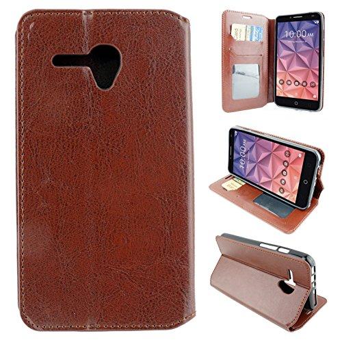 Alcatel One Touch Fierce XL Case (T-Mobile MetroPCS), Customerfirst PU Leather Luxury Flip Design Wallet Pouch Phone Case For Alcatel 5.5