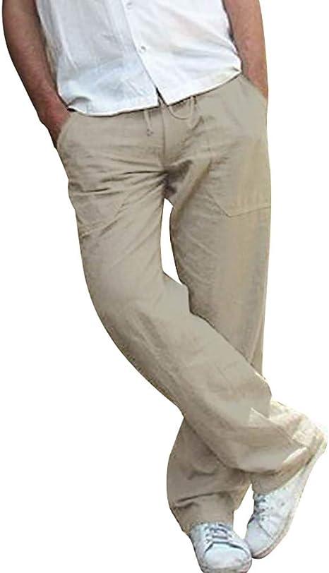 Herren Leinenhose Freizeithose Weites Bein Stoffhose Sports Straight Einfach DE