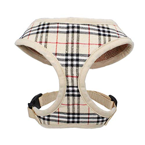 WONDERPUP Plaid Dog Cat Harness with Comfort Soft Mesh No Pull Durable for Small Puppy Walking (XS, Beige)