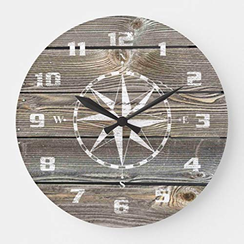 Enidgunter Authentic Looking Wood Rustic Nautical Compass Large Wall Clock Decor for Bedroom Nursery Round Silent Wood Clock Art for Kids Girls Boys Room 12 inches