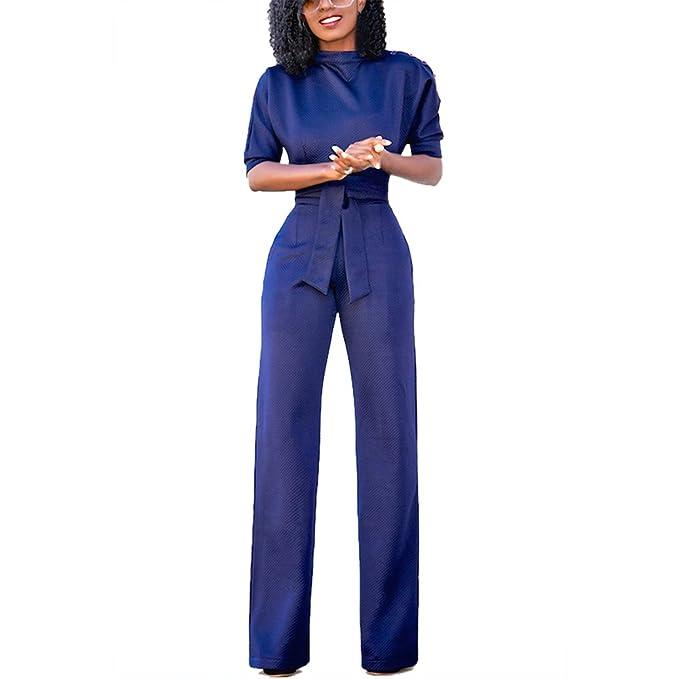 912a8342c1 Eiffel Women s One Shoulder Wide Leg Jumpsuits Rompers Long Pants Bodysuit  ((US 4-