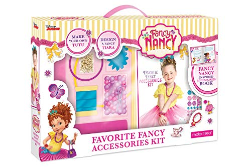 Make It Real - Disney Fancy Nancy Favorite Fancy Accessories Kit. DIY Craft and Jewelry Making Kit for Little Girls. Guides Kids to Create Disney Inspired Beauty Accessories from Fancy Nancy. -