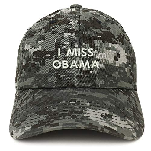 Trendy Apparel Shop I Miss Obama Embroidered Low Profile Deluxe Cotton Cap Dad Hat - Digital Night Camo