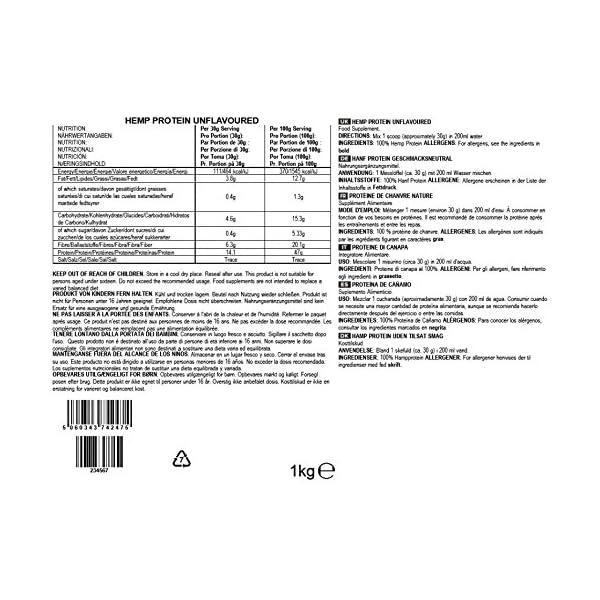 BULK POWDERS Hemp Protein Powder, Vegan Protein Shake, Unflavoured, 1 kg