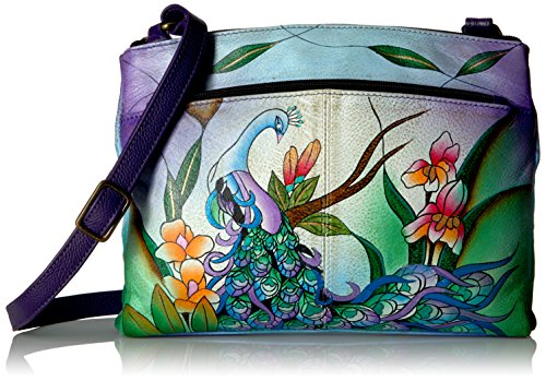 Anna by Anuschka Handpainted Crossbody Organizer,Midnight Peacock, -