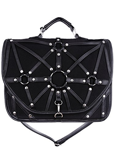 Restyle Dark Side Gothic O-rings & Black Harness Witchcraft Satchel Bag