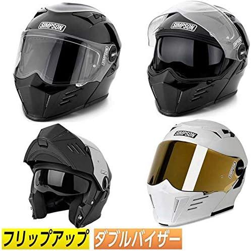 SIMPSON シンプソン MOD BANDIT フルフェイス ヘルメット モジュラー サンバイザー 軽量 バイク(M(57~58cm) ブラック)