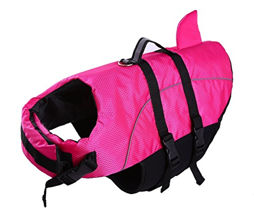 QBLEEV Dog Life Jacket Large,Dogs Life Vests for Swimming,Small Medium Puppy Float Coat Swimsuits Flotation Device Life Preserver Belt Lifesaver Flotation Suit for Pet Bulldog with Reflective Straps]()