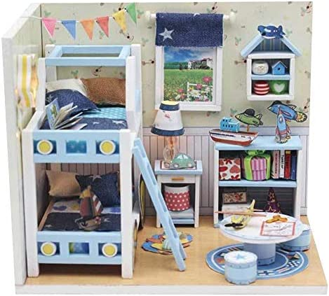 Tnfeeon DIY House Model Toy Dollhouse Wooden Room KitLED Light and Furniture DIY House Craft Kits Best Birthday for Girls Friends Boys Mom Wife Daughter(1) / Tnfeeon DIY House Model Toy Dollhouse Wooden Room KitLED Light and Furnit...