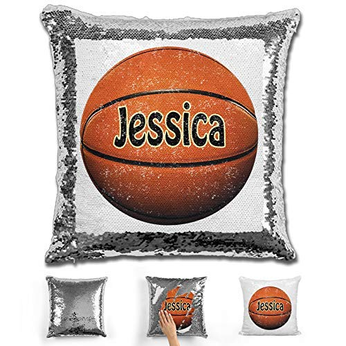 LemonsAreBlue Basketball Personalized Mermaid Reversible Sequin Pillow, Silver/Red/Gold/Blue Custom Basketball Sequin Pillow