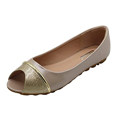 Women Peep Toe Crystal Glitter Ballet Flat Slip-Ons | Flats