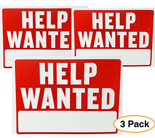 Help Wanted Sign Red & White (3 Pack) Medium/Large 12