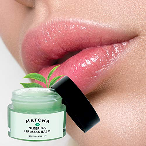 Green Tea Lip Sleeping Mask, Intensive Moisture Balm Overnight, Heal Restore Protect Dry Chapped Lips, Soft Supple Lips